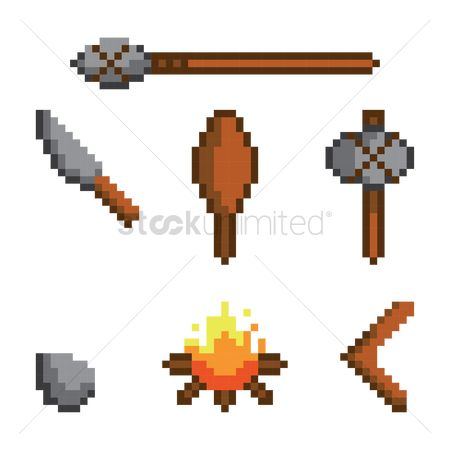 Wooden sign : Collection of prehistoric weapons