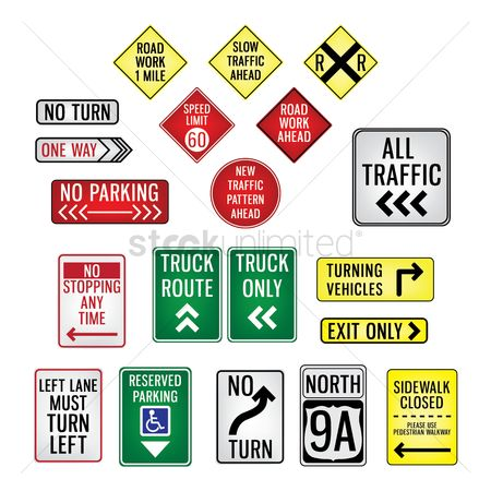 Attention : Collection of road signboards