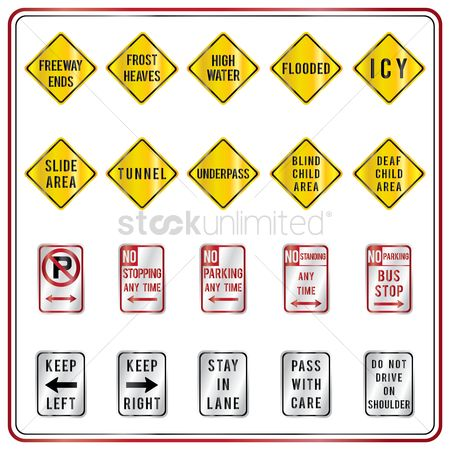 No : Collection of road signs