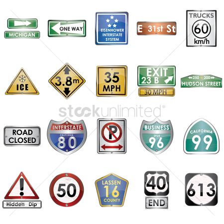 California : Collection of road signs
