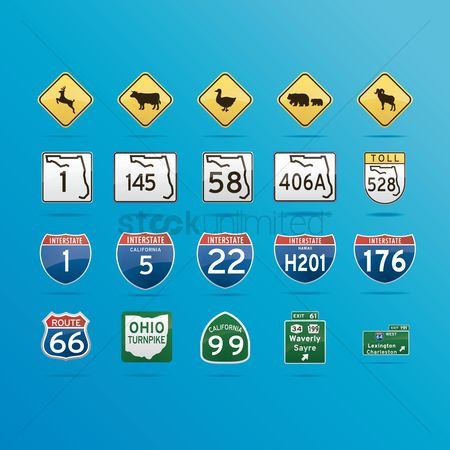 California : Collection of roadsigns