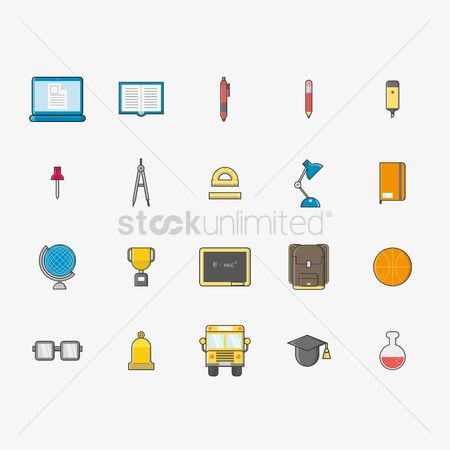 Highlighters : Collection of school icons