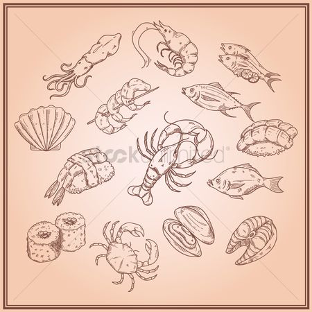 Crabs : Collection of seafood icons
