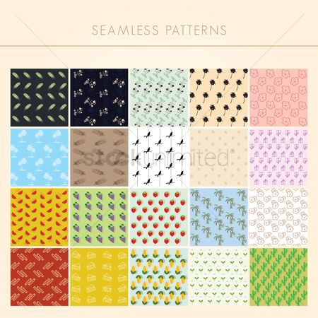 Fruit : Collection of seamless patterns