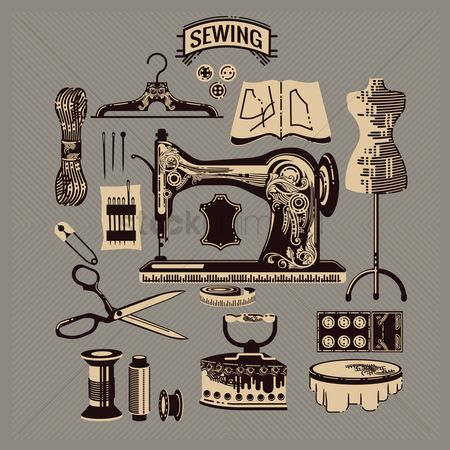 Needle : Collection of sewing icons