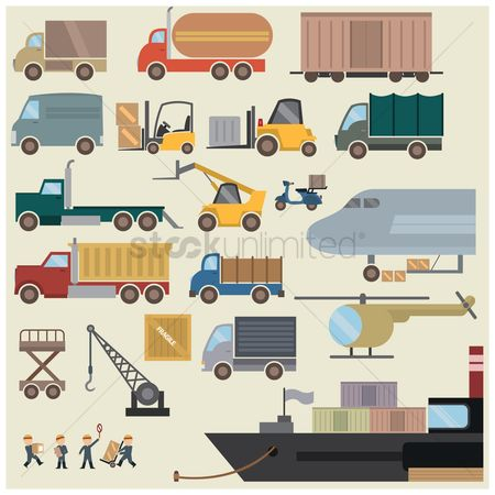 Workers : Collection of shipping equipment and transportation