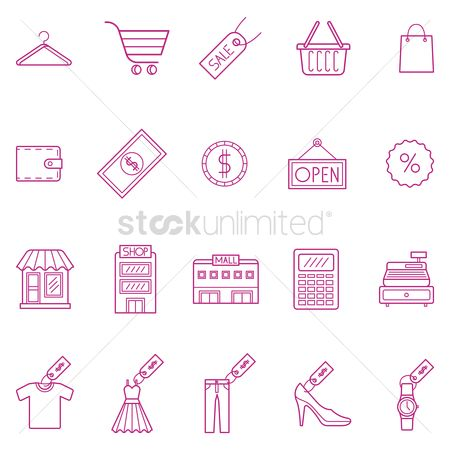 Shopping cart : Collection of shopping icons