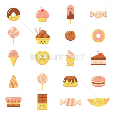 Confections : Collection of smiling food