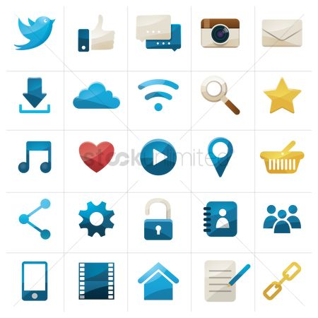 Marker : Collection of social media icons
