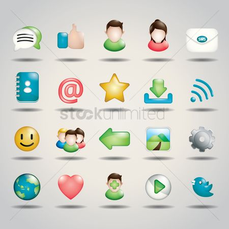 Setting : Collection of social media icons