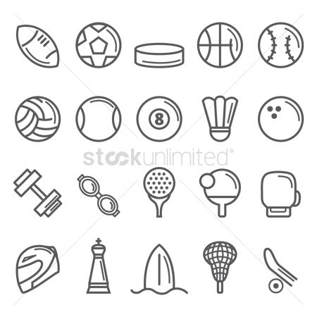 Shuttlecock : Collection of sport icons