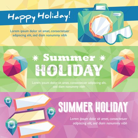Happy summer : Collection of summer holiday banner
