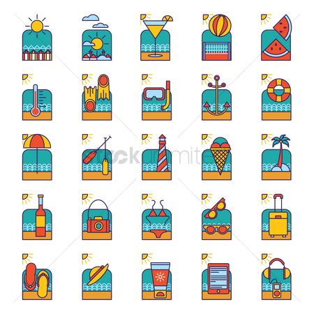 Lighthouses : Collection of summer icons