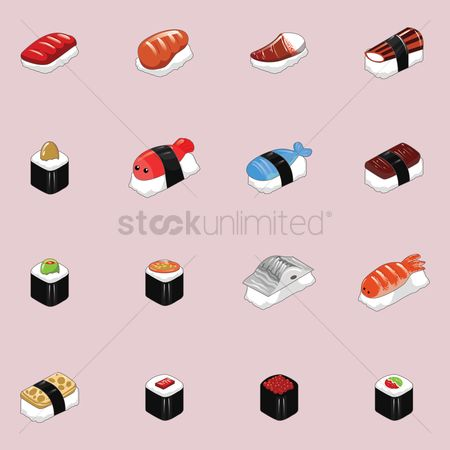 Japanese cuisines : Collection of sushi