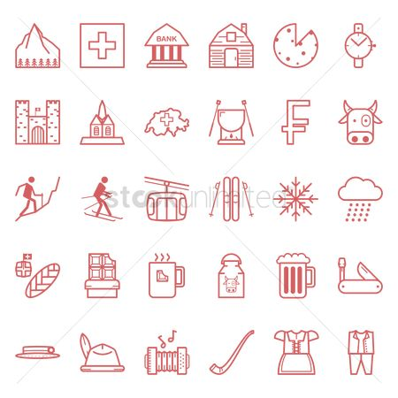 Bull : Collection of switzerland icons