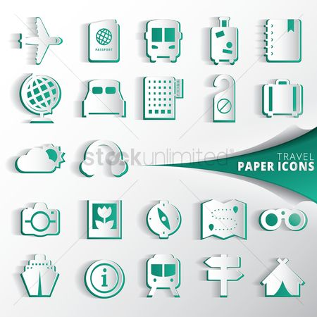 Buildings : Collection of travel paper icons