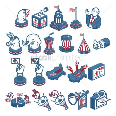 United states : Collection of us election icons
