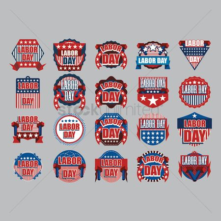 Hammers : Collection of us labor day icons