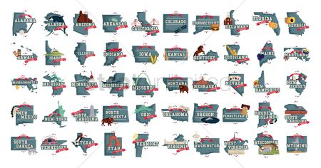 Race : Collection of us state maps with famous  symbols