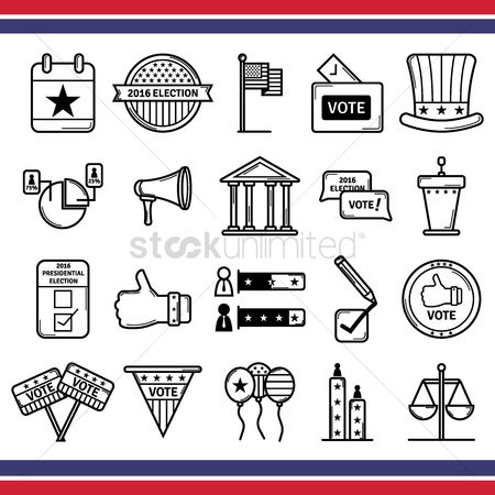 White house : Collection of usa elections icons