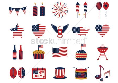 Footballs : Collection of usa icons