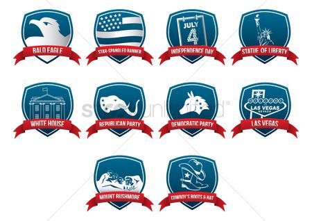 White house : Collection of usa labels