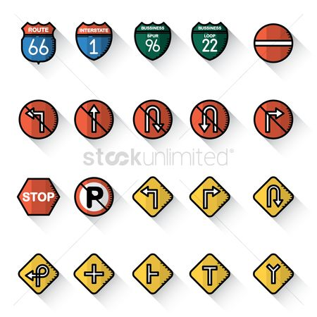 Interstates : Collection of usa road sign icons