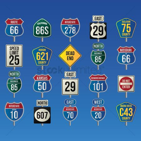 Interstates : Collection of usa route signs