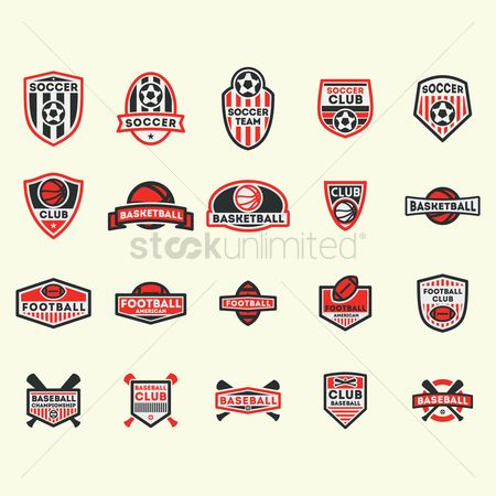Footballs : Collection of various sports labels