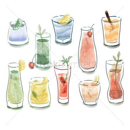 Cherry : Collection of various types of drinks