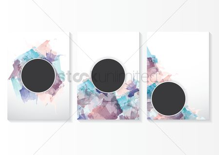 Circular : Collection of watercolor background designs