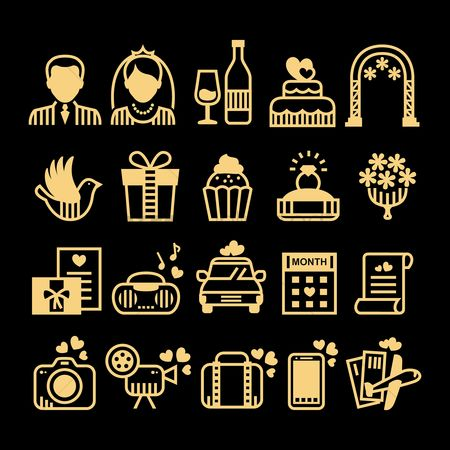Gifts : Collection of wedding icons