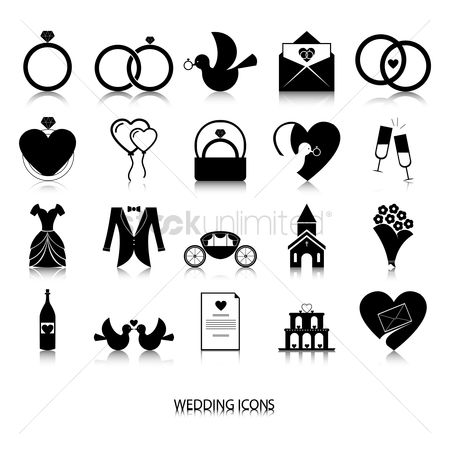 Champagnes : Collection of wedding icons