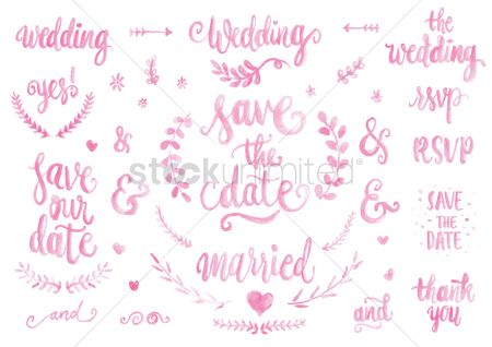 Write : Collection of wedding typography icons