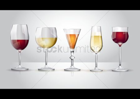 Drinking : Collection of wine glass