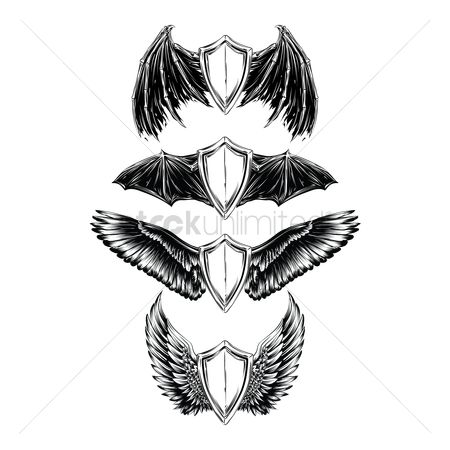 Shield : Collection of winged emblems