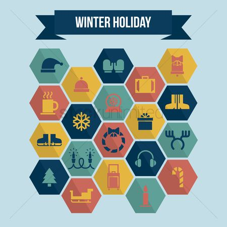 Mitten : Collection of winter holiday icons