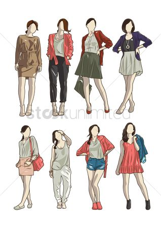 Posing : Collection of women in different outfit