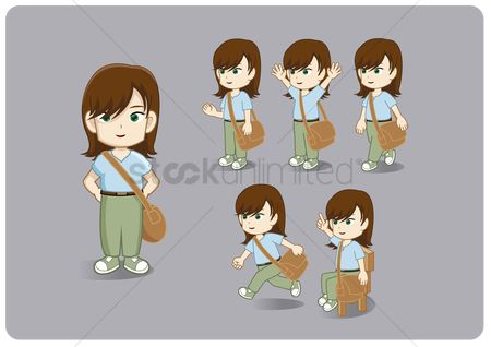 Avatars : Collection of young girl with a messenger sling bag