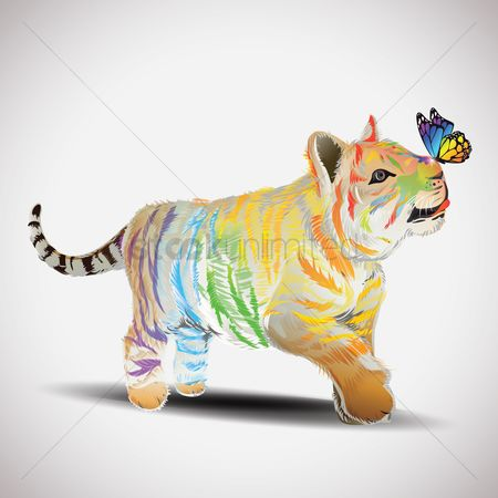 Rainbows : Colorful tiger playing with butterfly