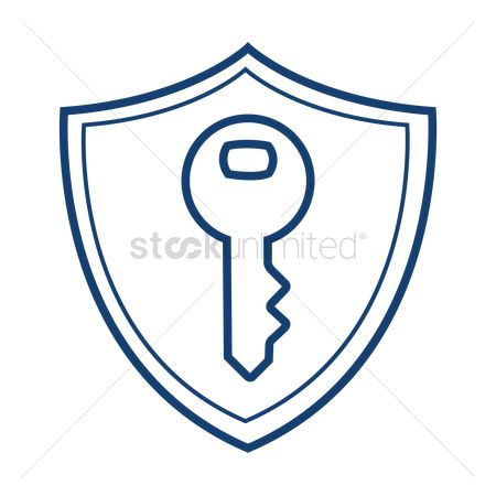 Password : Computer system protection shield symbol