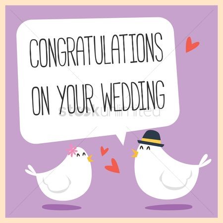 Love speech bubble : Congratulations on you wedding with bubble speech from a bird