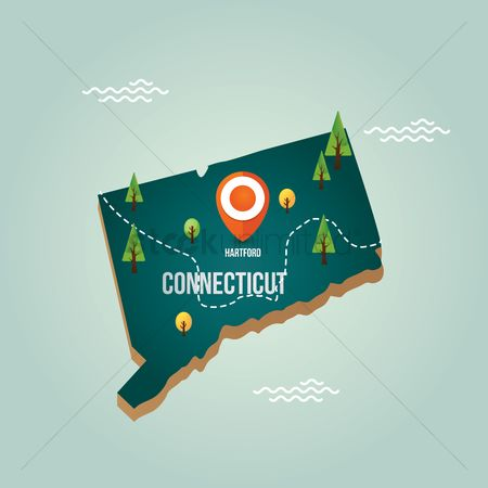 Connecticut : Connecticut map with capital city