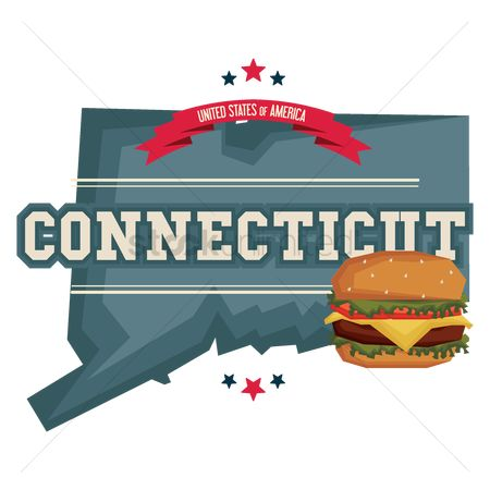 Connecticut : Connecticut map with hamburger