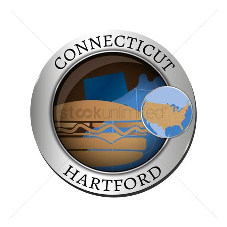 Connecticut : Connecticut state with burger badge