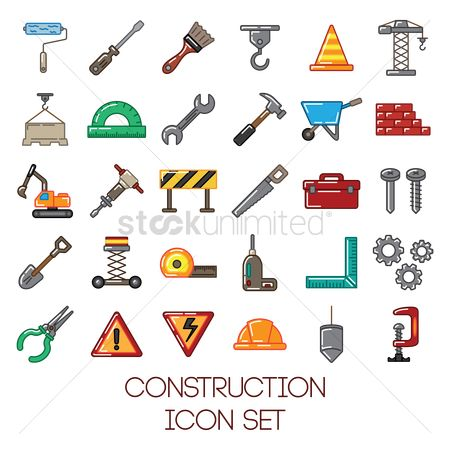 Roller brush : Construction icon set