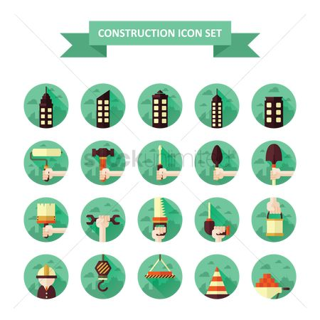 Roller brush : Construction icons set