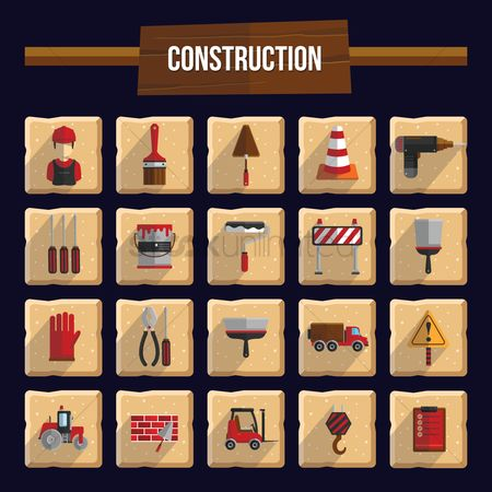 Caution : Construction icons