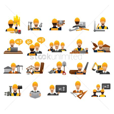 Builder : Construction people icon set