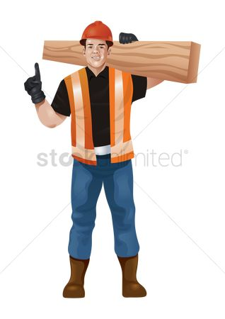 Builder : Construction worker carrying wood plank